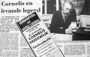 Den 6 september 1987 spelade Cornelis Vreeswijk på Hotell Ljusdal. Det blev ett av hans sista framträdanden, bara ett par månader senare, den 12 november, avled han.