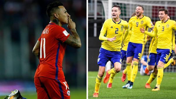 De svenska fotbollsherrarna ställs mot Chile i uppladdningen inför VM 2018. Bild: TT.