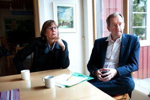 Ekonomidirektör Peter Hansson, th, accepterar beslutat att han får gå från jobbet som ekonomidirektör. Nästa vecka fortsätter samtalen om övergången med regiondirektör Karin Stikå Mjöberg, tv.