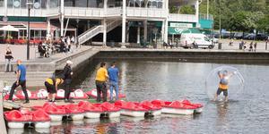 """Från och med fredag kan man """"gå på vattnet"""" och åka trampbåt vid Marenplan."""
