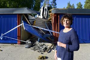 Kerstin Engströms bil skadades när rattfylleristen kraschade in i garaget.