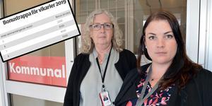 Ingrid Norberg och Belinda Mattsson på Kommunal i Borlänge menar att kommunen borde satsa pengarna på bättre arbetsmiljö istället för på bonus för vikarier.