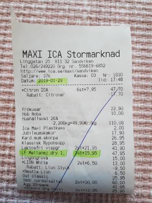 För säkerhets skull gick Ida tillbaka och kollade på gamla kvitton och där framgår tydligt att hon så sent som veckan innan betalat 15,95 för den laktosfria mjölkdrycken.
