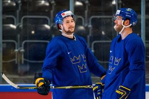 Filip Forsberg och Mattias Ekholm under en träning i VM.Foto: Petter Arvidson / BILDBYRÅN