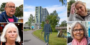 Härnösandsbor som har delade meningar om hotellbygget. Lars-Olov Åström, Eva Goes, Hannah Strömqvist, Ewa Ivarsson Alm.