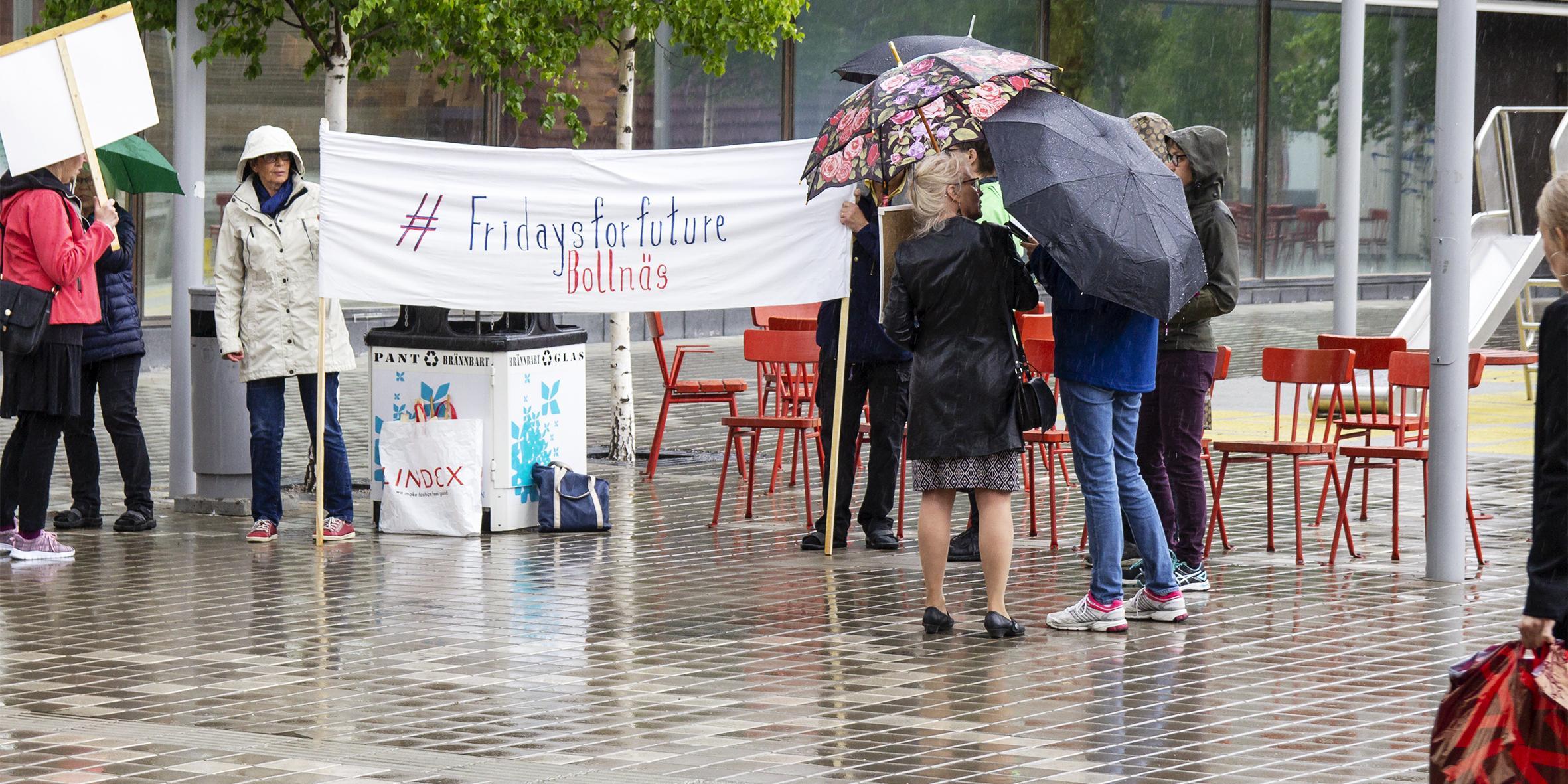 Trotsade regnet – manifestation med extra grönt inslag: