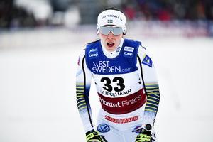 Charlotte Kalla under världscuptävlingarna i Ulricehamn i helgen.