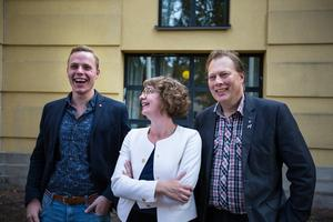 Socialdemokraternas oppositionsråd Sebastian Karlgren, Elin Norén och Abbe Ronsten.