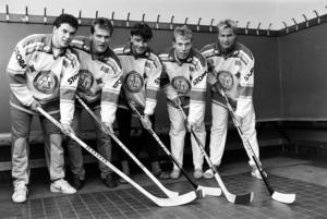 Fem skåningar i Leksand, 1987, från vänster: Robert Burakovsky, Stefan Nilsson, Peter Imhäuser, Jonas Bergqvist och Stefan Larsson. Foto: Bildbyrån.