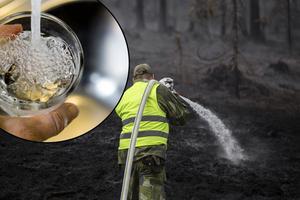 Personal från hemvärnet hjälper till att släcka  skogbranden vid älvdalens skjutfält Foto: Adam Wrafter / SvD / TT