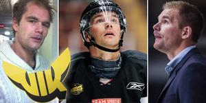 Två första bilderna: Mitell under sin tid i VIK. Den sista bilden: Säsongen med AIK. Foto: Hockeypuls/Bildbyrån.