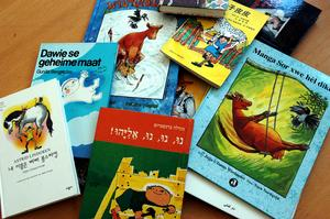 Barnböcker av svenska författare översatta till andra språk. Foto: Dan Hansson/TT