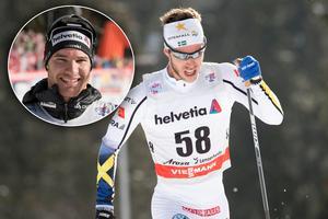 Marcus Hellner (stora bilden) blev bäste svensk i Lenzerheide. Hemmaåkaren Dario Cologna (infälld) vann. Bilder: TT Nyhetsbyrån.