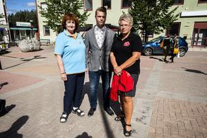 Politikerna överväger att göra en polisanmälan efter all vandalism på valaffischer runt om i kommunen. På bilden ser vi Kerstin Franzén (M), Johan Andersson (C) och Åsa Sjödén (S).