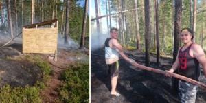 Alexander Beckeman och hans kusin Mikael Sundström var inte direkt klädda för att släcka en skogsbrand. De kom undan med lite svedda ben och rökluktande kläder.