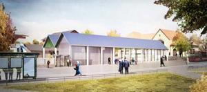 Skissen visar den kommande vänthallen vid pendeltågsstationen Södertälje centrum. Visualisering: Marge Arkitekter