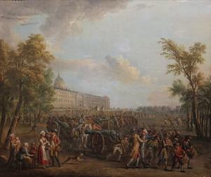 Parisarna beväpnar sig 1789. Målning av Jean-Baptiste Lallemand från 1790.