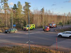 Olyckan har skett i en korsning på riksväg 68 i Horndal. Foto: Alexander Koivisto
