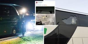 När Kristianstad gästade Timrå i höstas kastades stenar på lagets buss. Nu har Timrå IK:s spelarbuss vandaliserats nere i Kristianstad. Bilder: Eric Westlund/arkiv, privat och skärmdump från Jonathan Dahléns twitterkonto