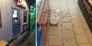 Någon har krossat en ruta på Wasakiosken och sträckt sig in efter godis. Foto: Privat.