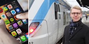 Nya appar och digitala tjänster ska bidra till att förbättra SL:s kollektivtrafik, berättar trafiklandstingsrådet Kristoffer Tamsons (M). Foto: David Klasson och TT