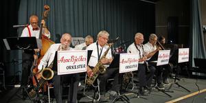 Arne Bjelkes orkester bjöd på sköna jazztoner under sin 20-minutersdel av lördagens stora musikevenemang.