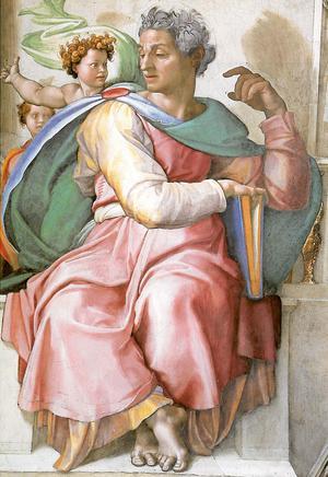 Jesaja, så som Michelangelo har målat honom 1512 i sin stora fresk i Sixtinska kapellets tak.