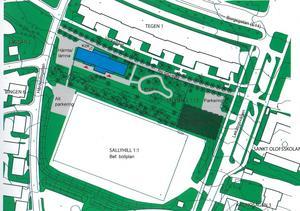 I högra hörnet vid Midälvaplan är en idrottshall inritad.