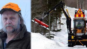 Lars Forsgren i Ljustorp är förbannad på Trafikverket som röjer sly och lämnar det på vägen till älgarna.