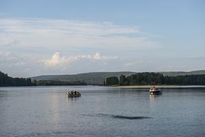 några fritidsbåtar tog sig till fiskodlingen för att beskåda notdragningen på lite avstånd.