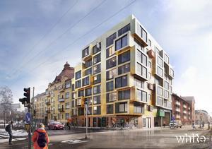 Bild: White Arkitekter                                      Asplunds Fastigheters nya studentlägenheter på Skolgatan/Södra Grevrosengatan. Det ska vara inflyttningsklart november 2020.