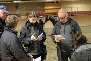 Premieringsnämnden under ledning av ordföranden Håkan Kemi, överlägger kring treårige Gorm som står i bakgrunden.