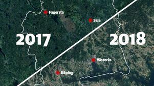 Skillnaden på hur Västmanland ser ut från rymden efter torkan.