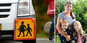 Jessica Söderberg har blivit nekad skolskjuts för dottern Maja. Bilden är ett montage