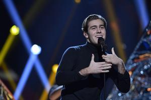 Benjamin Ingrosso framför sitt bidrag Good Lovi'n under repetionerna inför Melodifestivalens andra deltävling i Malmö arena.