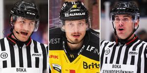 Daniel Eriksson (v) och Richard Magnusson (h) dömde VIK:s match mot Timrå. Foto: Bildbyrån.