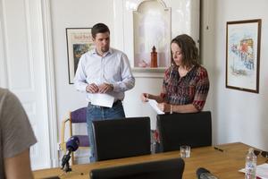 Oppositionsrådet Markus Evensson (S) och Arbetarkommunens vice ordförande Annelie Wallberg (S).