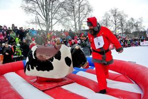 Snäretomten försökte hålla sig kvar på den mekaniska tjuren, förklädd till Rudolf med röd mule.