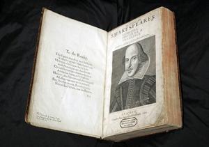 Ett exemplar av en upplaga från 1623, med Shakespearepjäser.