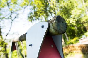 På gungställningen utanför boende växer det svamp. Det har även lossnat träbitar från ställningen.