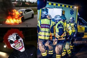 Blåljusspecial vecka 41. Bilderna är tagna av Vidar Ruud/TT (bilden på clownen), Antong Ryvang (olycksbilden) och Torbjörn Wåhlin (den brinnande bilen).