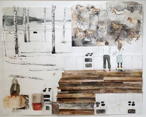 Erika Nordqvist bygger upp sina verk i kollagestil av akvarellmålningar och blyertsteckningar.
