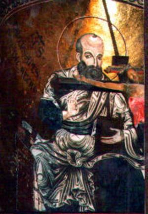 Paulus kikar fram över korset i katedralen i Monreale, som innehåller de kanske vackraste mosaikarbetena i världen.