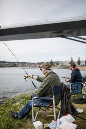 Det går en bro från hopp till tro … Sten och Victor Högberg hoppas på fina napp i havsviken.