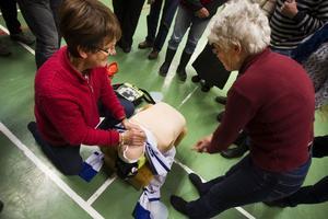 Gudrun Stockzell har jobbat som ambulanssjukvårdare och kunde också visa till exempel Inga Östervall hur hjärtstopp tacklas.