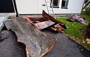 Kopparrester som lämnats kvar vid en tidigare kopparstöld från Surahammars kyrka.