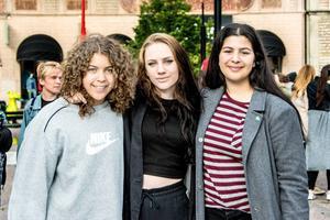 Olivia Neib och Elin Dahlqvist från Ung vänster och Jasmin Khwaiter från Grön ungdom arrangerade manifestationen.