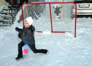 SNURRIGT. Philip Löfström, 7 år, Tierp Hockey, visar en snurrfint. Fast nu med innebandyklubba och boll.