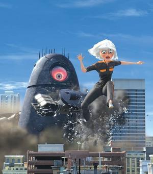 """Kvinna på flykt.  """"Monsters vs Aliens"""" innehåller en hel av amerikansk 2009-humor. Foto: UIP"""