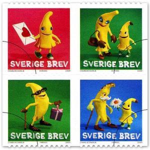 Roliga bananer, skapade i lera, ska pryda kuverten framöver.